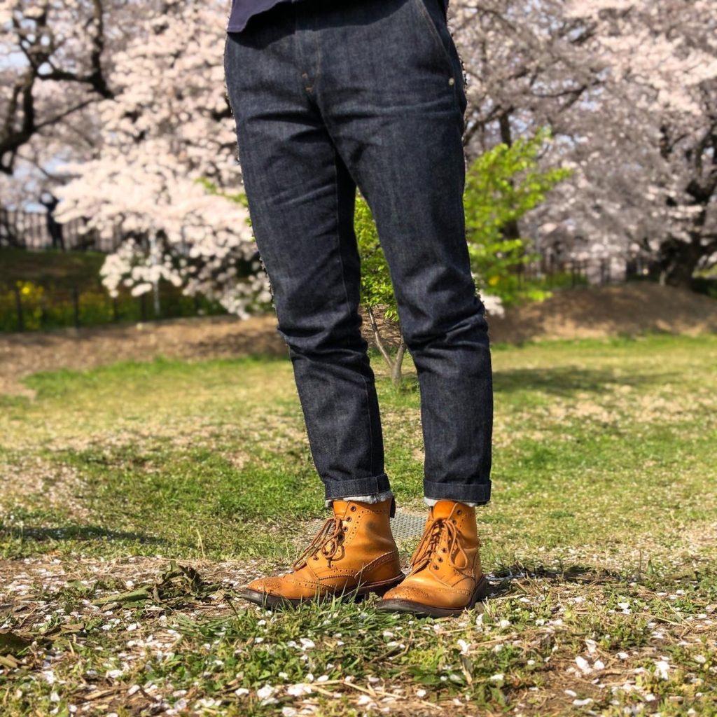 ヌッテで作ったジーンズ履いたところ 正面