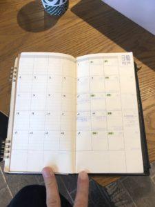 トラベラーズノート中身公開!月間カレンダー