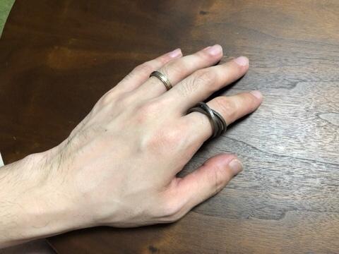 3Dプリント指輪チタンワイヤー装着時