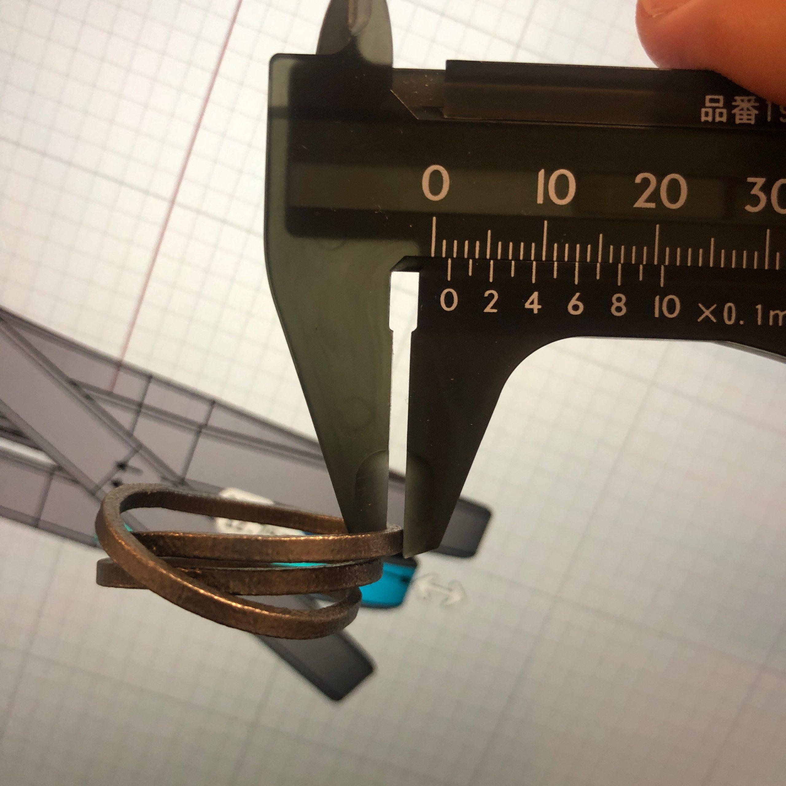 3Dプリント チタン指輪 本体厚さ