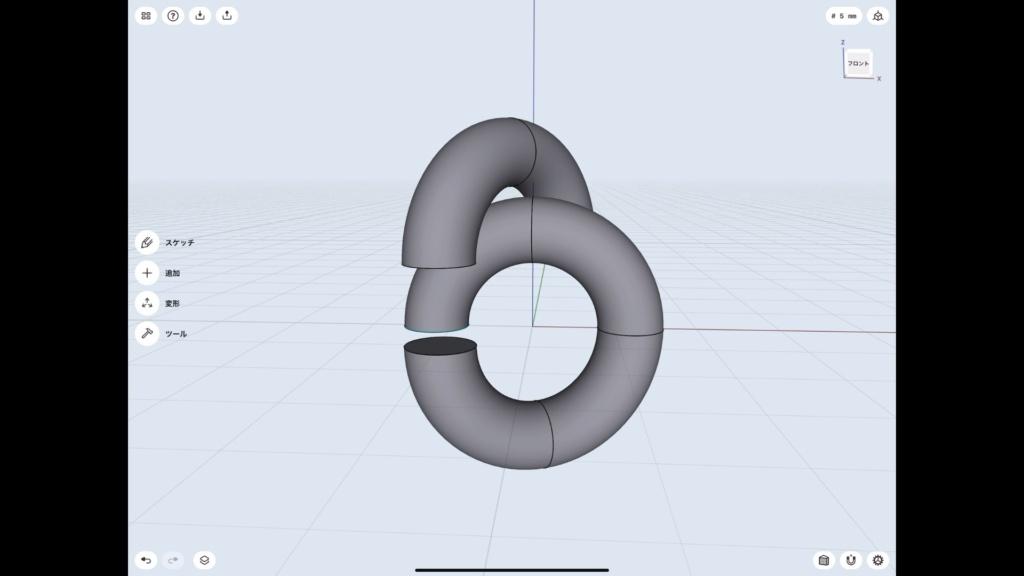 Shapr3Dの使い方 結び目 重ならない位置まで移動させる