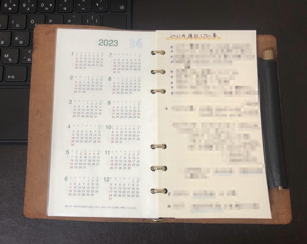2021年の手帳 プロッター 4年分のカレンダー