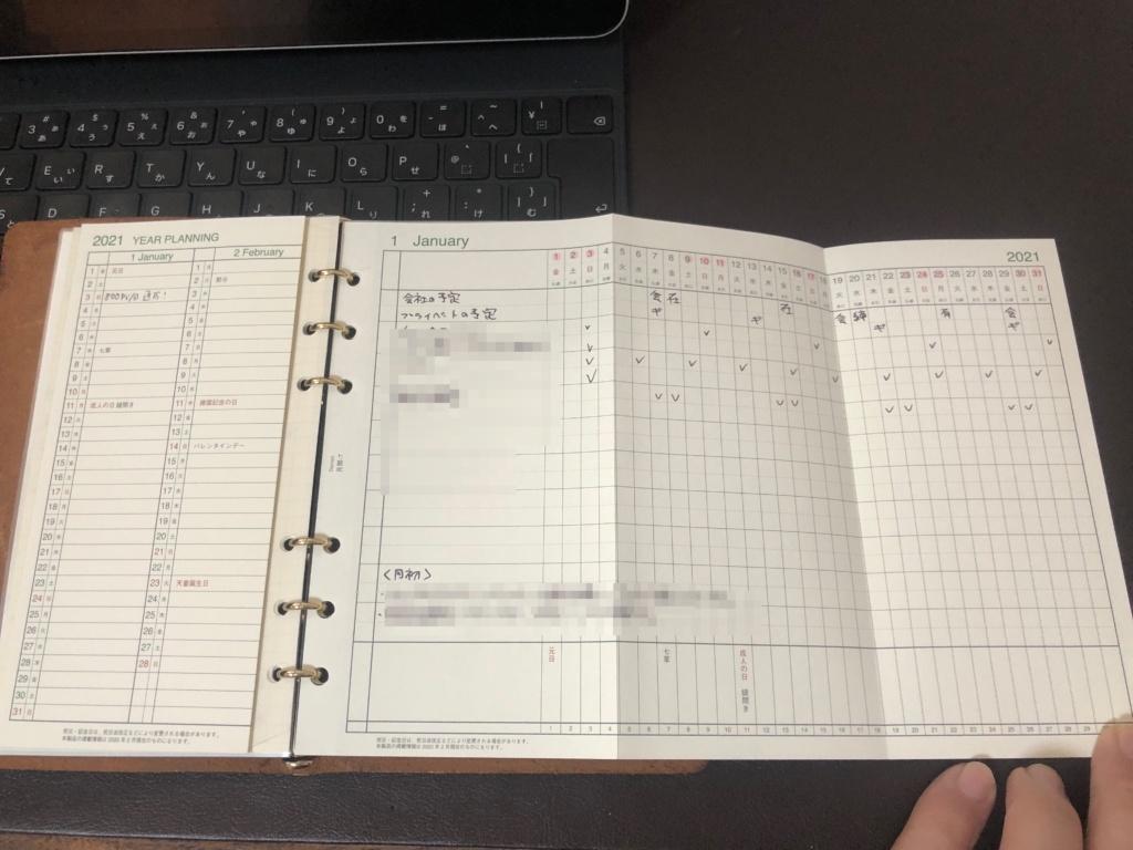 2021年の手帳 プロッター 習慣トラッカー